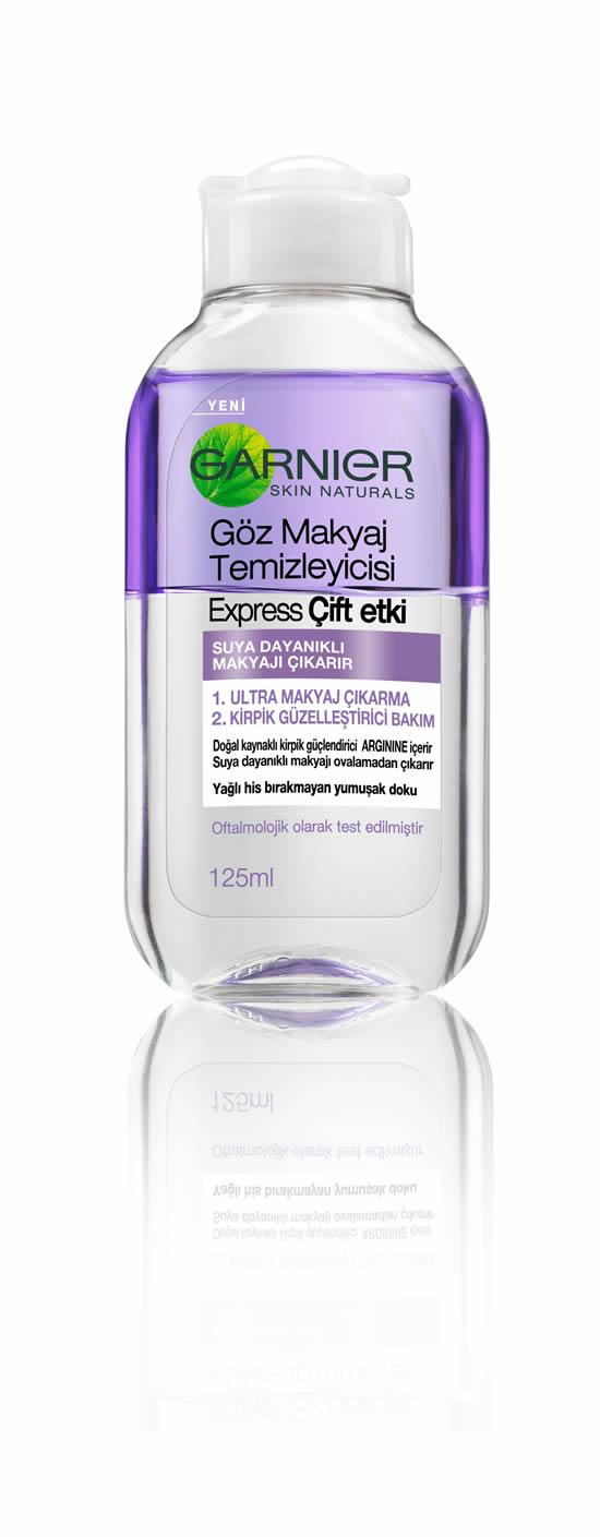 Daha yoğun ve güçlü kirpikler için Garnier Göz Makyaj Temizleyicisi Express Çift Etki
